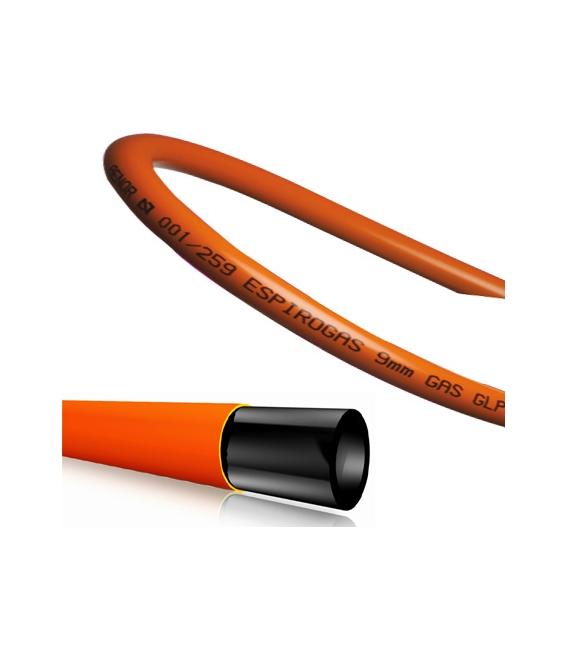 Tubo butano color naranja 9x15 rollo 60 metros. ESPIROFLEX