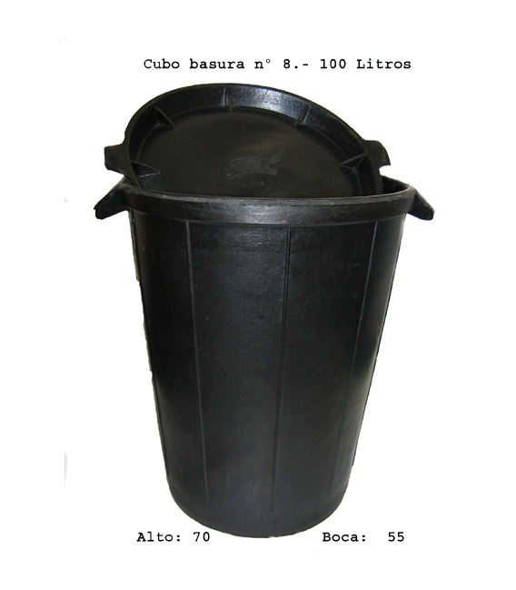 Cubo Basura Goma  S/Tapa De 100 L Unidad. FIELKAN