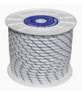 Cuerda trenzada 10mm Blanco Azul 100 MT Nylon. HYC