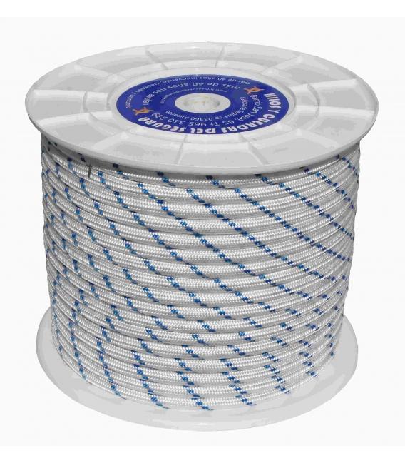 Cuerda Trenzada 18Mm Nylon Blanco/Azul Tipo Driza  100 Mt. HYC