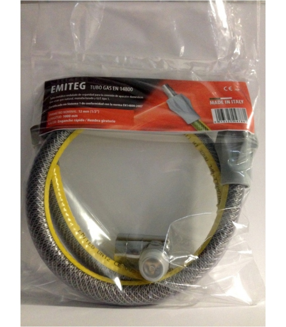 Tubo Gas metalico cocinas y encimeras C/Valvula Seguridad 1MT-1/2´. EMITEG