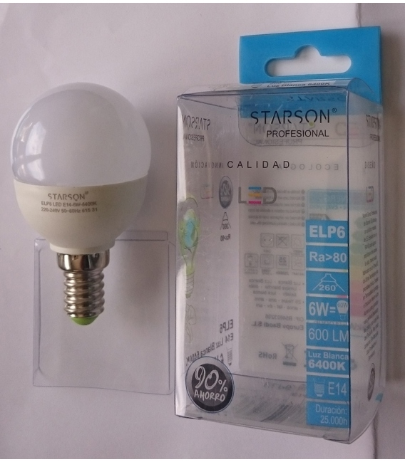 LAMPARA LED ESF. E14 6W 600LM 6400K