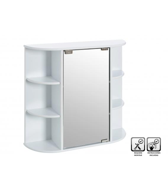 Mueble pared 4 lejas espejo 59x16x58cm. UNIMASA