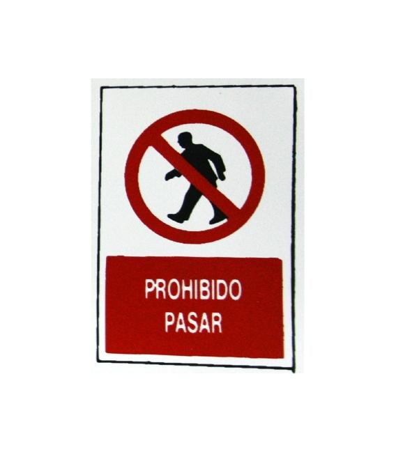 PLACA ADH PROHIBIDO PASAR 300X200X1MM