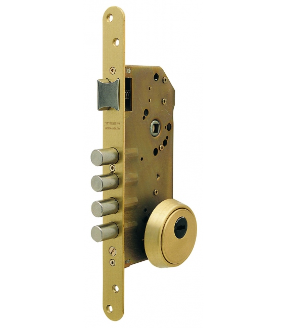 Cerradura Seguridad Madera Embutir 50Mm R200B566L Laton 1Pto. TESA