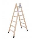 Escalera Industrial Tijera 2,75Mt 11 peldaños doble madera. CLIMENT