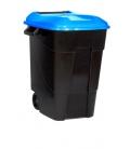 Contenedor de basura con ruedas negro tapa azul 100 LT. TAYG