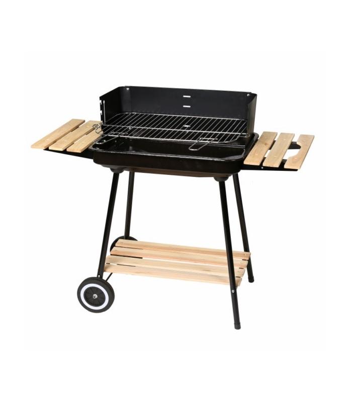 Barbacoa de carb n rectangular con portaobjetos de madera - Barbacoas de carbon ...