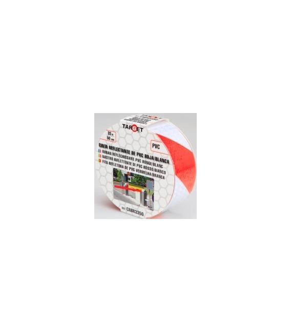 Cinta adhesiva señalización 50MMx 33mt PVCrojo blanco. TARGET
