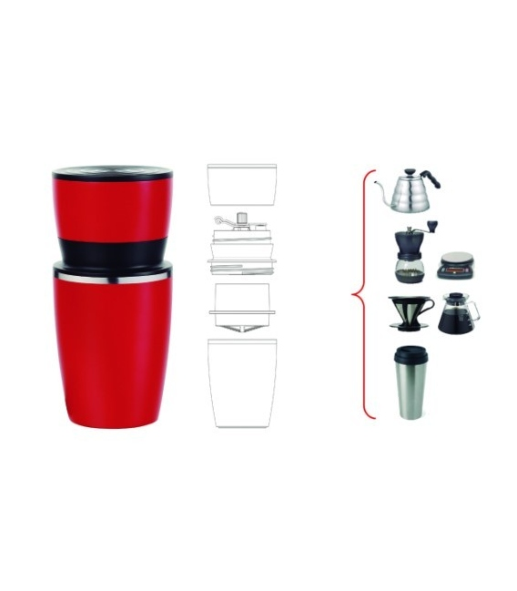Termo Cafetera 4 en 1 acero Inox Rojo SILICONEGOLD SG3419