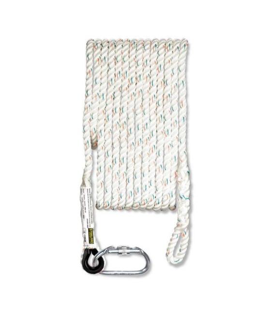 Cuerda Seguridad 20mt 12mm Ø Dispositivo Wind Poliester. STEELPRO