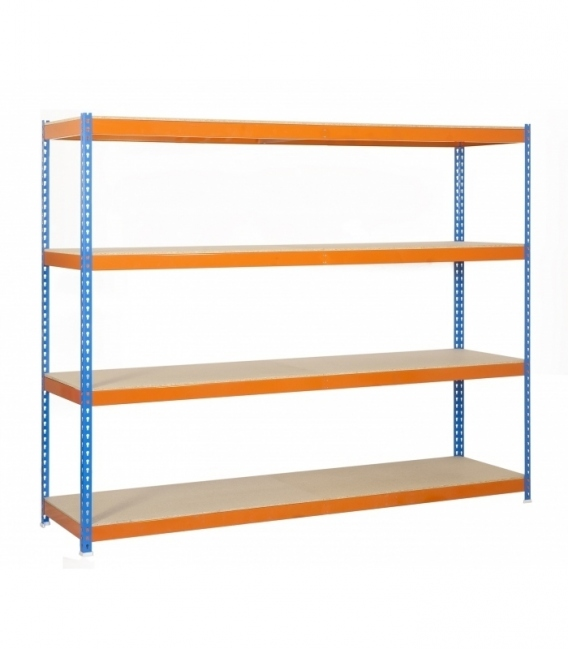 Estantería de media carga Kit Ecoforte 1504-4 Chipboard Azul/Naranja/Madera. SIMONRACK