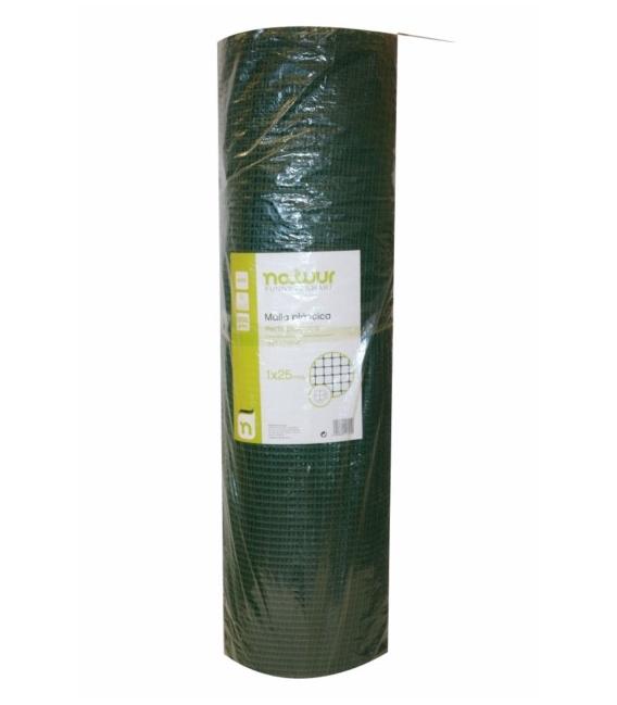 Malla cuadrada protección 1x25mt verde. NATUUR