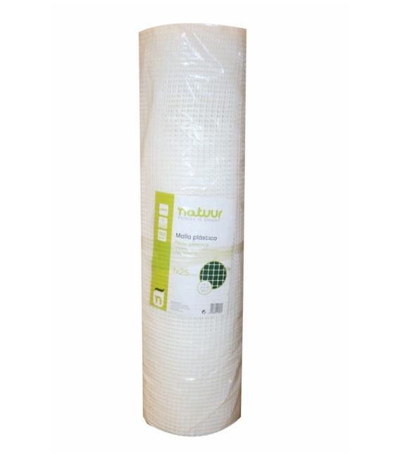 Malla cuadrada protección 1x25mt blanco. NATUUR