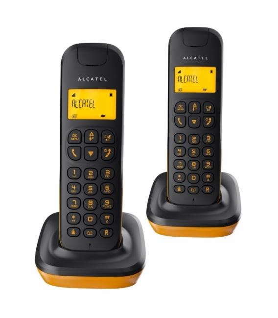 Teléfono inalámbrico duo negro/naranja. ALCATEL