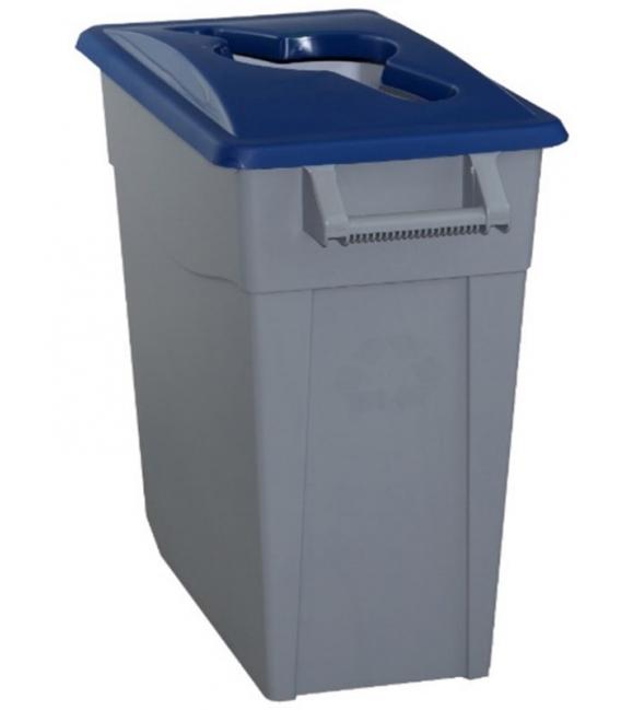 Contenedor de basura con ruedas tapa azul 65LT. DENOX