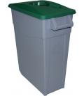 Contenedor de basura con ruedas tapa verde 65LT. DENOX