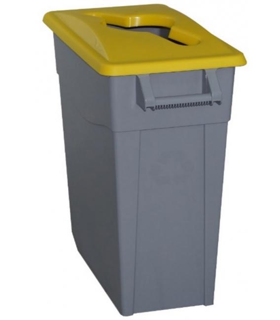Contenedor de basura con ruedas tapa amarilla 65LT. DENOX