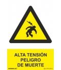 CARTEL SEÑAL 210X300MM ALTA TENSION PELI