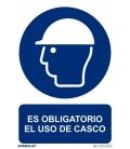 CARTEL SEÑAL 210X300MM OBLIGA USO CASCO