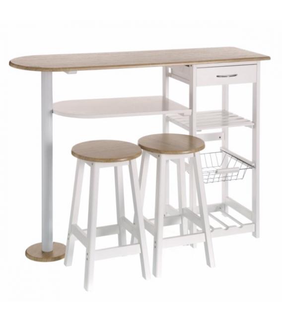 Mesa con verdulero y dos taburetes UNIMASA