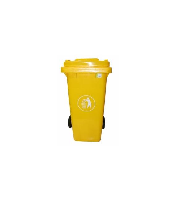 Contenedor de basura con ruedas amarillo 120 LT. NATUUR