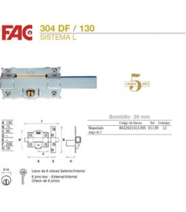 Cerradura FAC cierre persiana 304-DF Lateral níquel