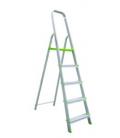 Escalera domestica tijera 1,11mt 5 peldaños barandilla baja aluminio. VIVAHOGAR