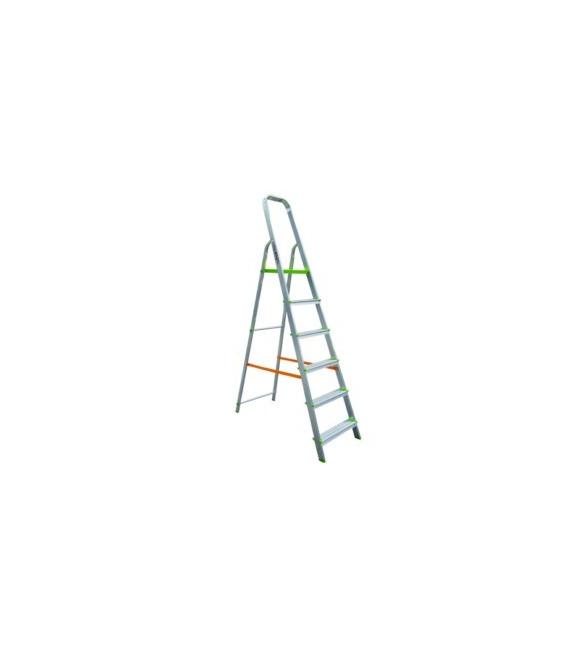 Escalera Domestica Tijera 1,34Mt 6 Peldaños barandilla baja aluminio. VIVAHOGAR