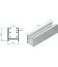 Perfil superior baño 3000MM 3182 aluminio inoxidable satinado. EUROLATÓN