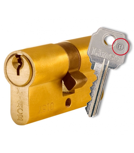 Cilindro seguridad 30x10mm latón LINCE C053010LIO