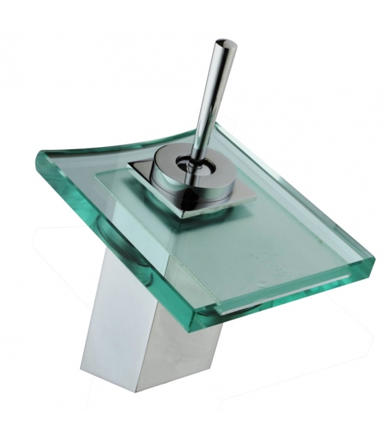 Grifo Baño Lavabo 14x11x21Cm Monomando Cristal Verde/Plata Cascada. DP GRIFERÍA
