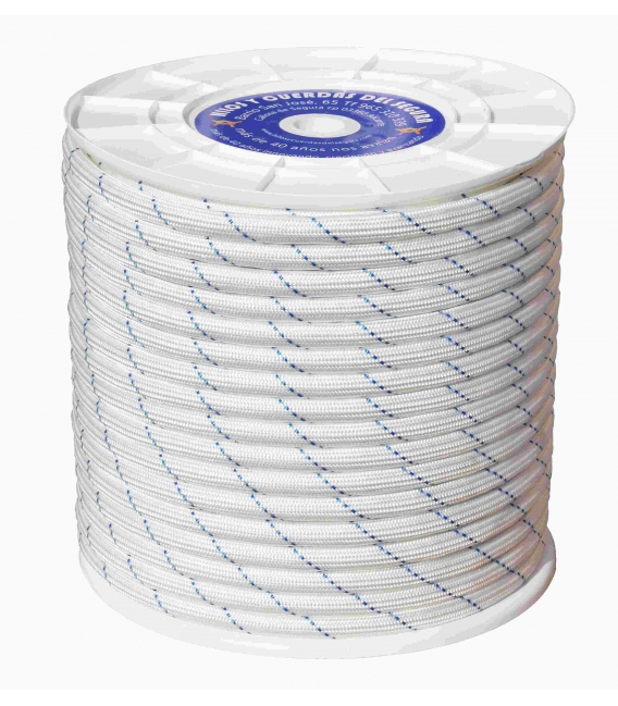 Cuerda Trenzada Doble 08mm Polipropileno Blanco/Azul  200 Mt. HYC