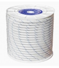Cuerda Trenzada Doble 08mm Polipropileno Blanco/Azul  200 Mt. HYC