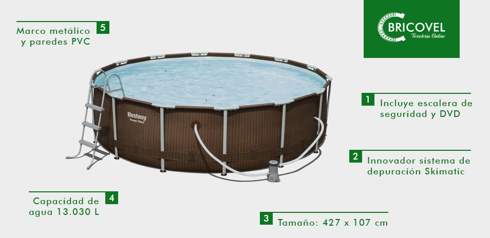 Piscina circular BESTWAY marco metálico POWER STEEL